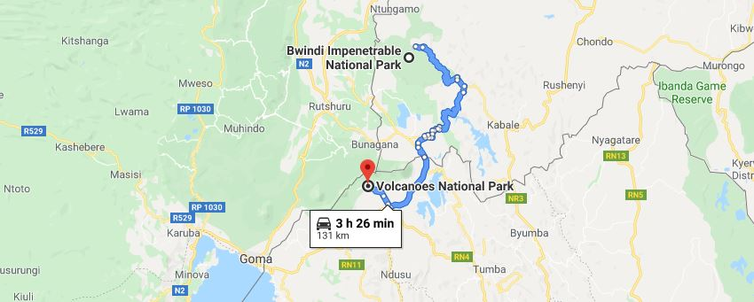 Distance Between Bwindi And Volcanoes Park Rwanda